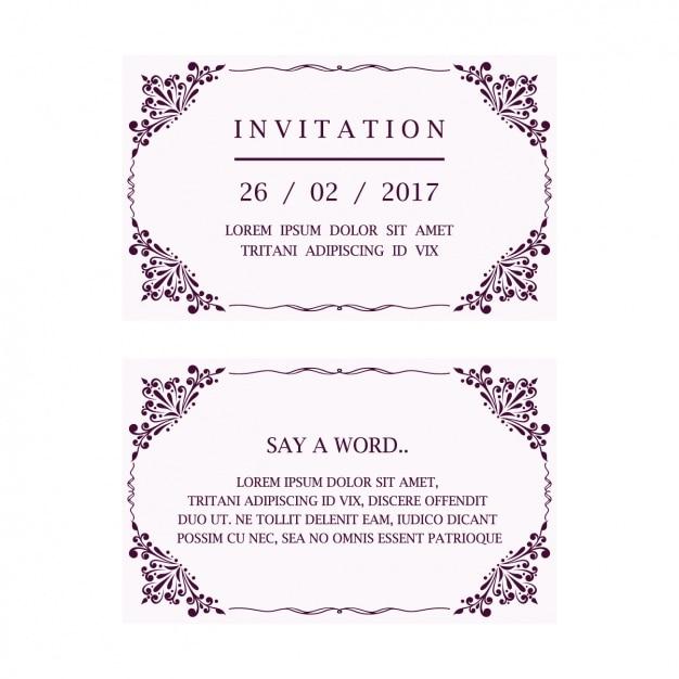 Wedding Invitation Card Free Vector