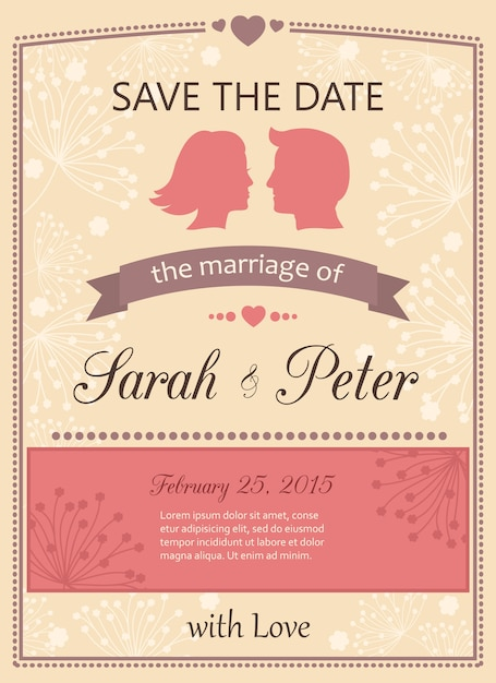 Wedding invitation card Vector | Free Download