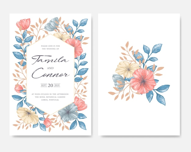 Wedding Invitation Card Premium Vector