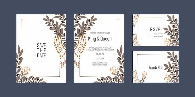 Wedding invitation card Premium Vector