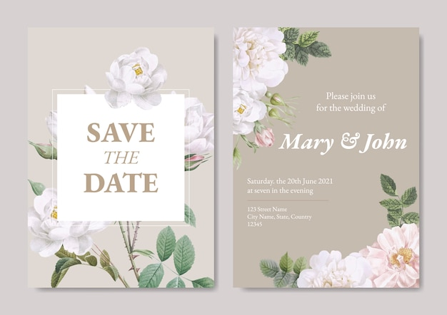 Wedding invitation card Free Vector
