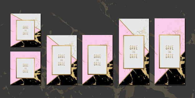 Wedding Invitation Cards Black Pink Marble Texture