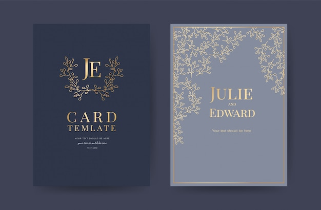 Wedding invitation cards design template Premium Vector