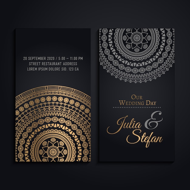Wedding Invitation Cards In Luxury Mandala Style Vector