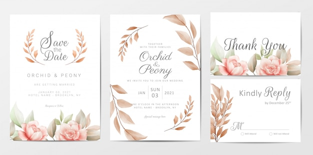 Wedding invitation cards template set with brown floral Premium Vector