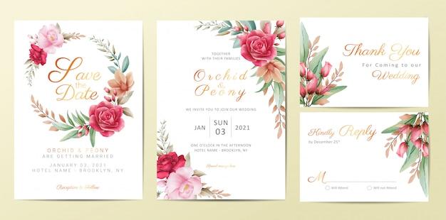 Wedding invitation cards template set with elegant flowers Premium Vector