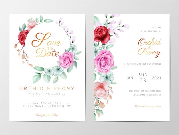 Wedding invitation cards template set with flowers decorative Premium Vector
