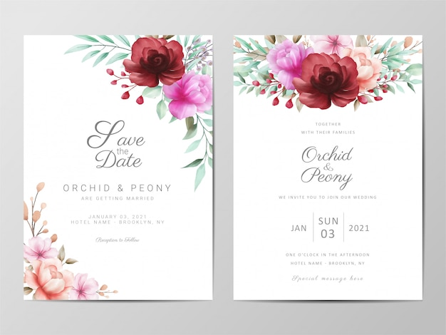 Wedding invitation cards template set with watercolor flowers Premium Vector