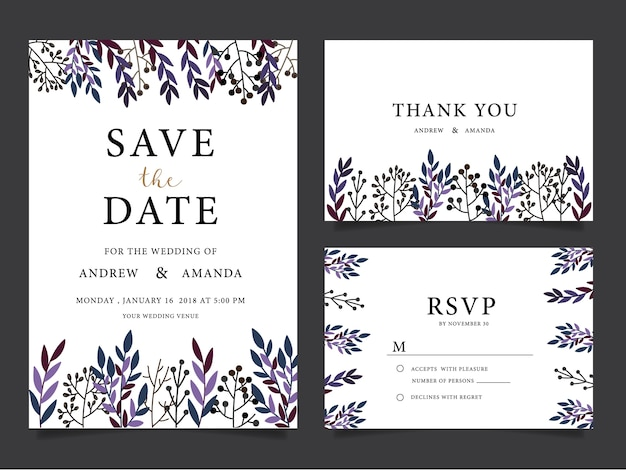 Wedding invitation cardsthank you card wedding stationery vector wedding invitation cardsthank you card wedding stationery premium vector stopboris Image collections