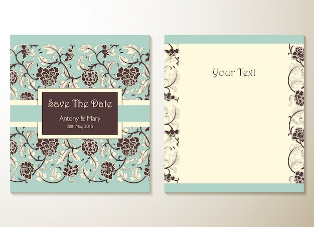 Wedding invitation cards with floral elements Premium Vector