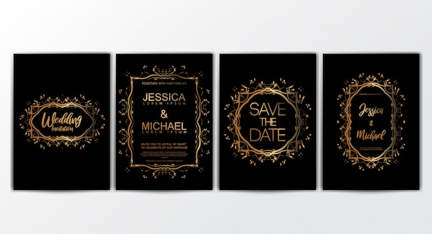 Wedding invitation cards with luxurious concept set Premium Vector