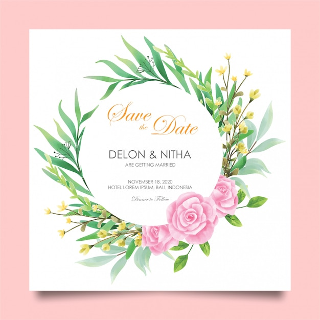 Wedding invitation cards with roses and watercolor style Premium Vector