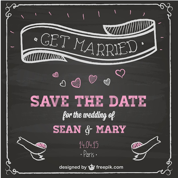 Wedding Invitation Chalkboard Design Vector | Free Download