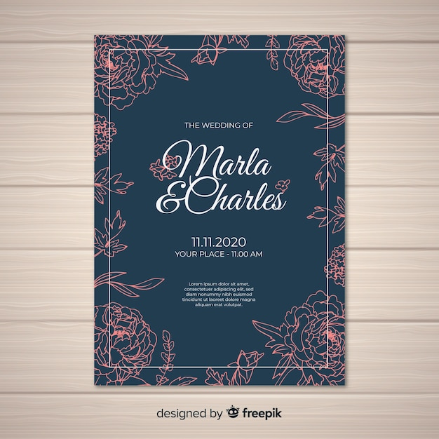 Wedding invitation cover template with beautiful peony flowers Free Vector