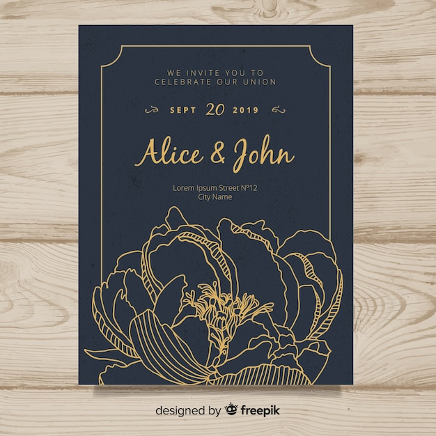 Wedding invitation cover template with beautiful peony