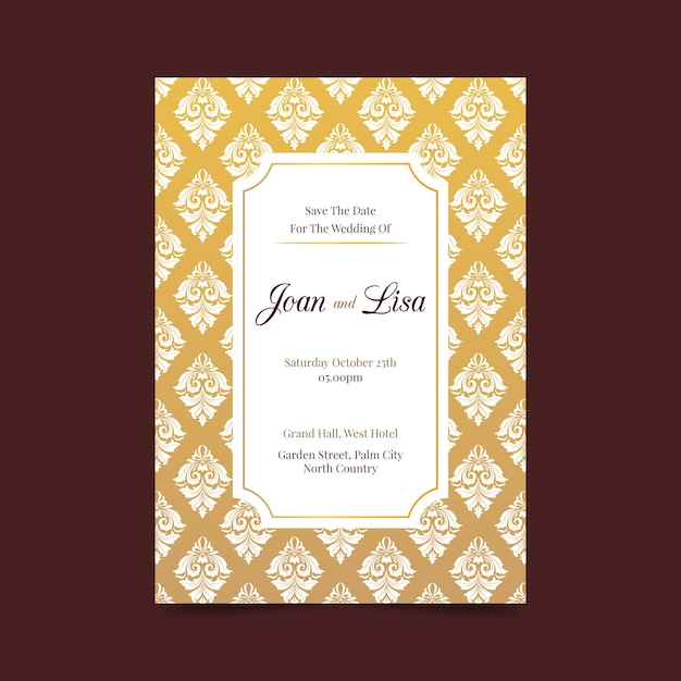 Wedding invitation in damask style Free Vector