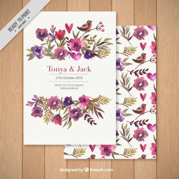 Wedding Invitation Decorated With A Floral Background Vector Free