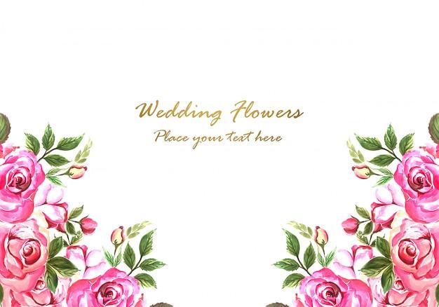 Wedding invitation decorative flowers card design Free Vector