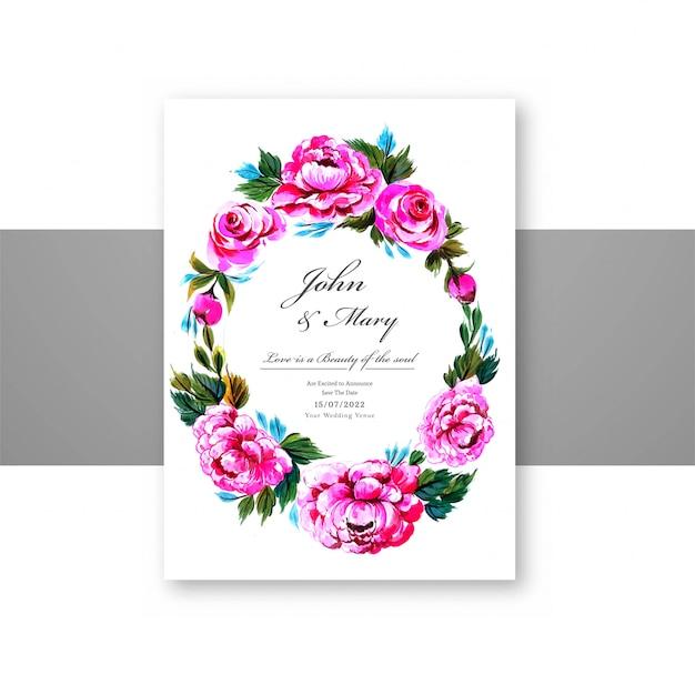 Modello decorativo della carta della struttura dei fiori dell'invito di nozze Vettore gratuito