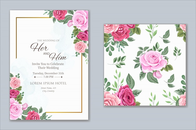 Wedding invitation design with beautiful flower and leaves Premium Vector