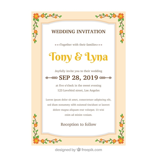 Wedding invitation design with floral frame concept vector free wedding invitation design with floral frame concept free vector stopboris