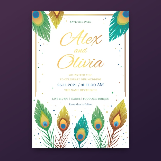 Wedding invitation design with peacock feathers Free Vector