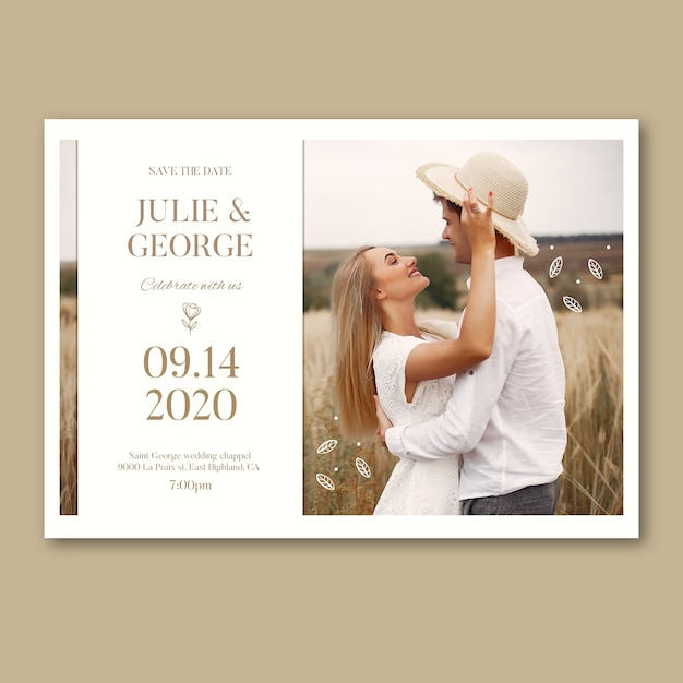 Wedding invitation design with photo Free Vector