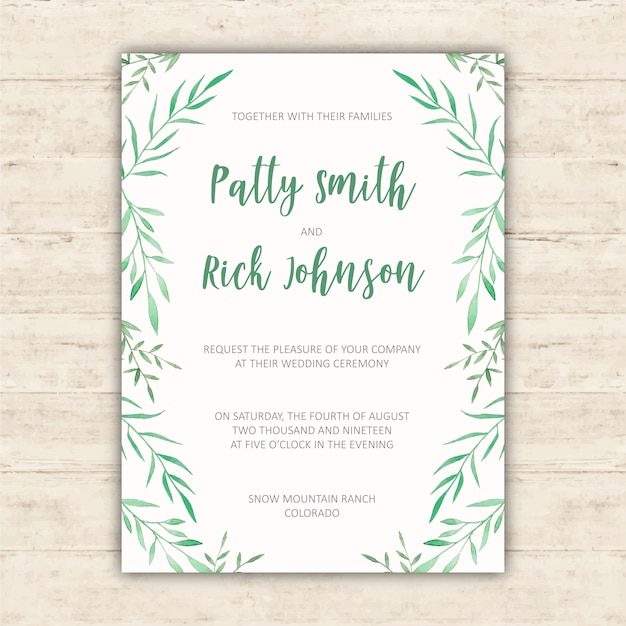 Wedding invitation design with watercolor elements Free Vector