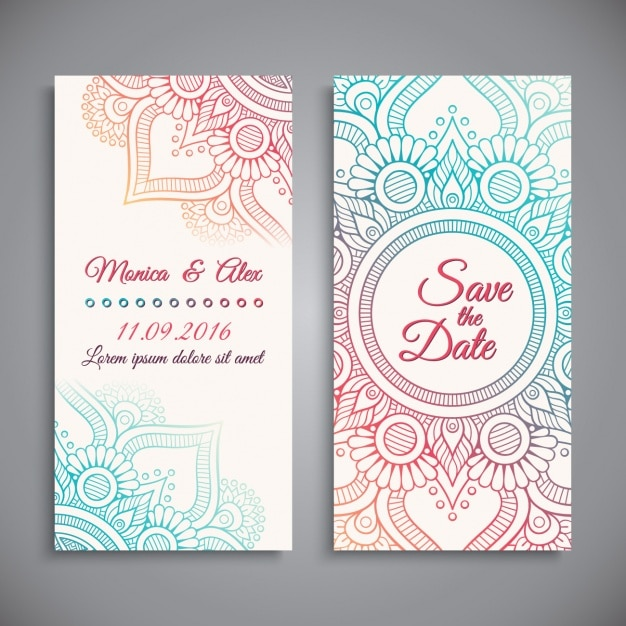 Wedding invitation design Vector Free Download