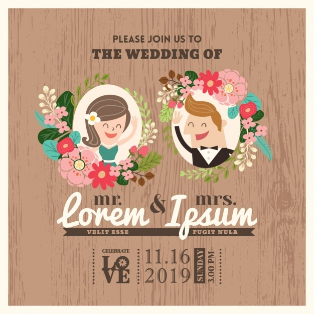 Wedding invitation design Free Vector