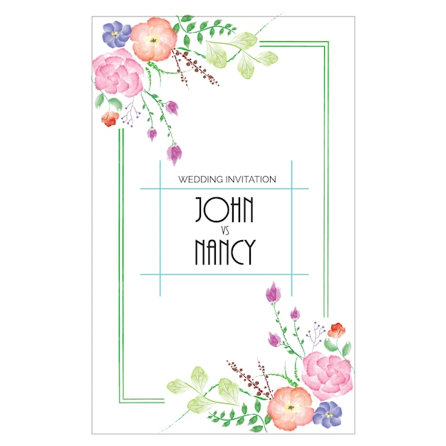 Wedding invitation design Free Vector