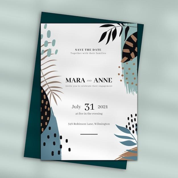 Дизайн свадебного приглашения Бесплатные векторы