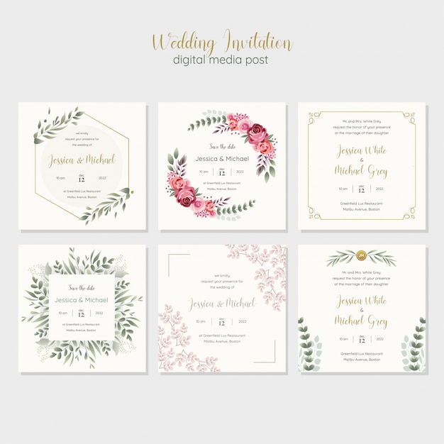 Wedding invitation digital media post template Premium Vector