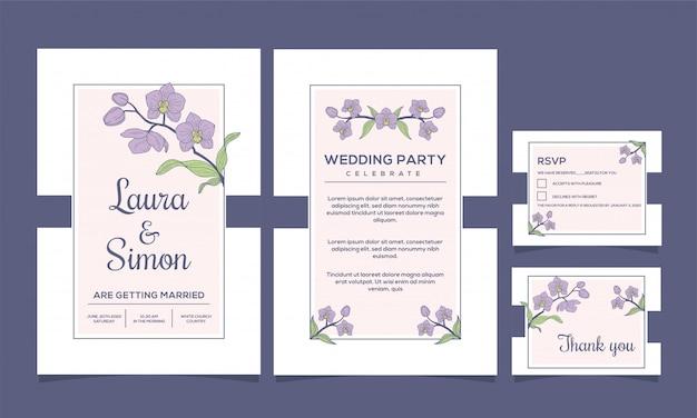 結婚式招待状エレガントな蘭の花のデザイン Premiumベクター