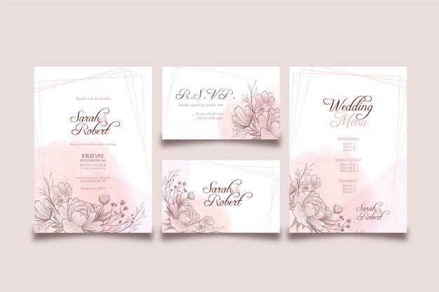 Шаблон элегантной темы свадебного приглашения Premium векторы