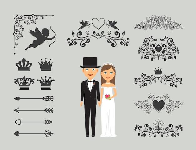 결혼식 초대 요소. 결혼식 장식을위한 화려한 요소. 무료 벡터