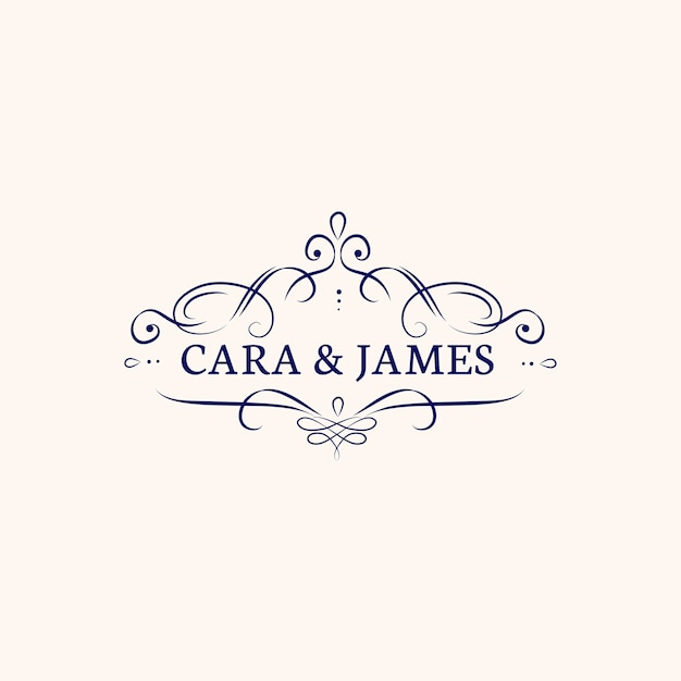 Wedding invitation emblem Free Vector