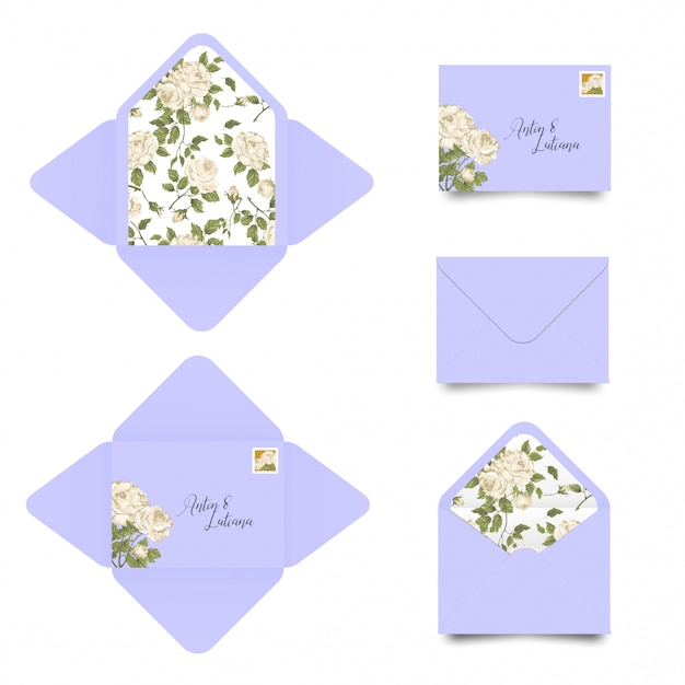 Wedding invitation envelope template Premium Vector