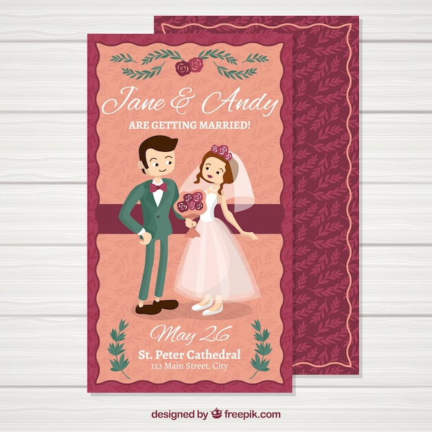 Flat Wedding Invitations: Wedding Invitation In Flat Style Vector