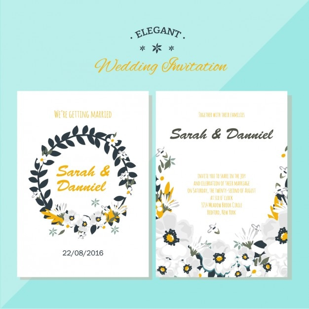 Wedding invitation floral design Free Vector