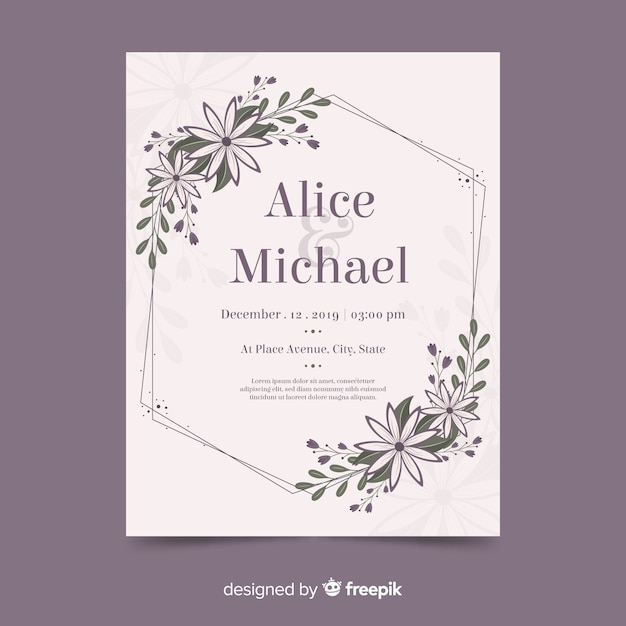 Wedding invitation floral frame with flat design Free Vector