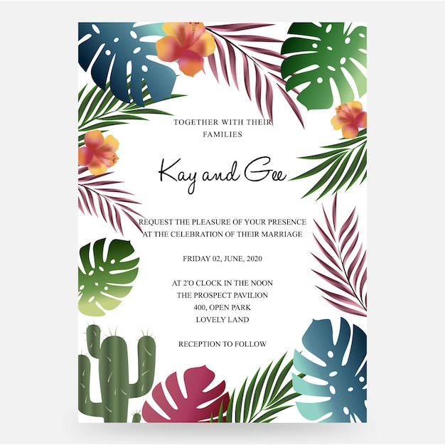 Wedding invitation, floral invite thank you, rsvp modern card design Premium Vector