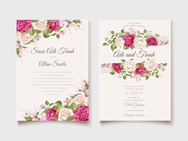 Wedding invitation floral and leaves card template Free Vector