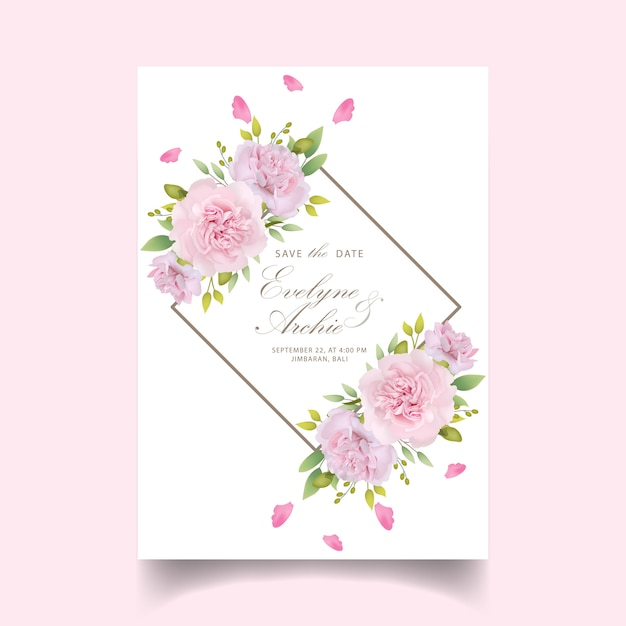 Wedding invitation floral pink carnations Premium Vector