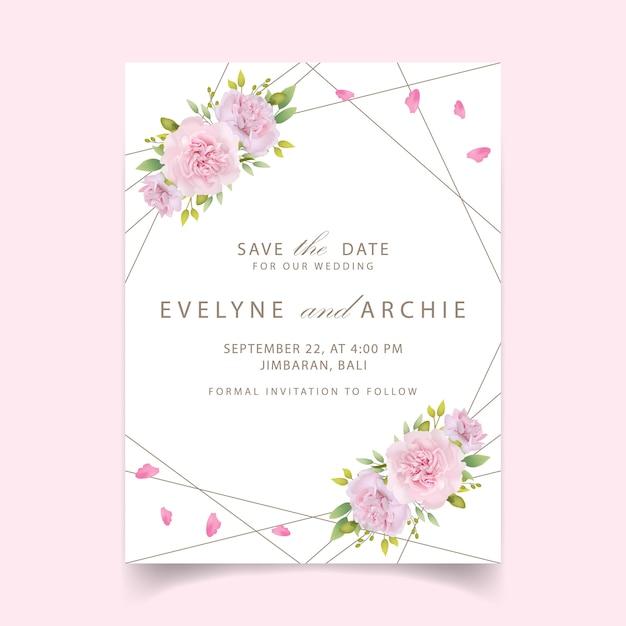 Wedding invitation floral pink carnations Premium Vector