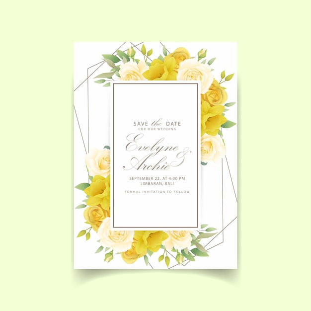 Wedding invitation floral roses and daffodils Premium Vector
