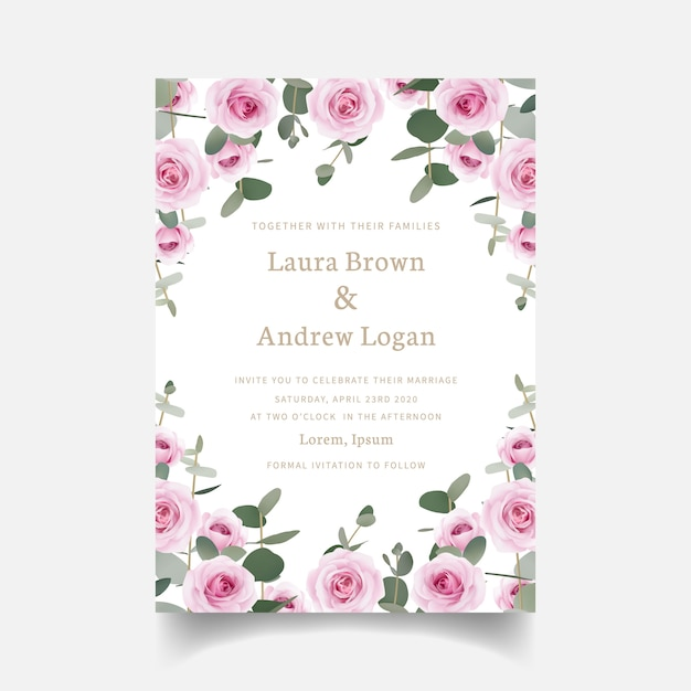 Wedding invitation floral roses and eucalyptus leaf Premium Vector