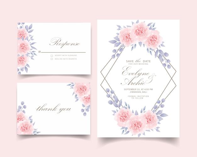 Wedding invitation floral roses Premium Vector