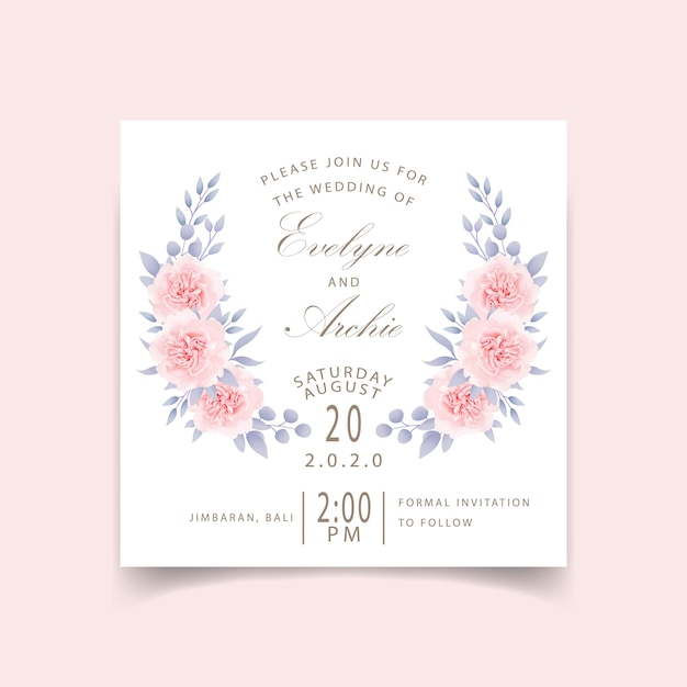 Wedding invitation floral roses Premium Vector