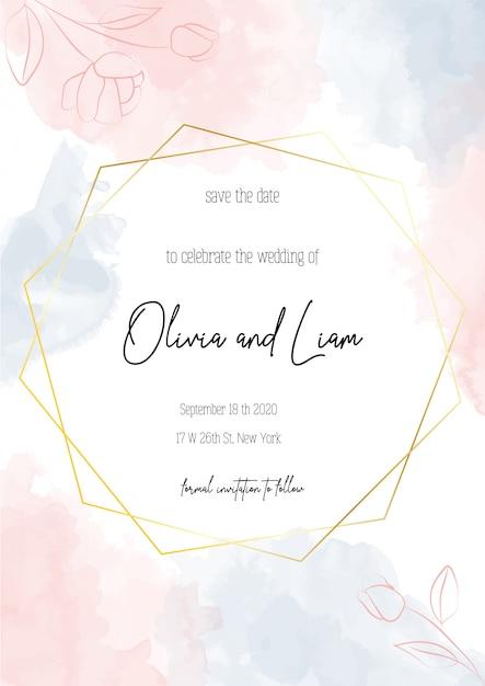 結婚式の招待状、フローラル保存日付現代カード Premiumベクター